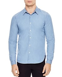 Sandro Fader Slim Fit Denim Button Down Shirt Blue Vintage