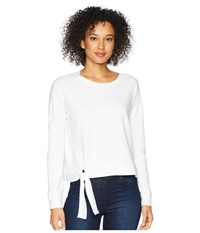 Mod O Doc Cotton Modal Spandex French Terry Drop Shoulder Sweatshirt With Tie White