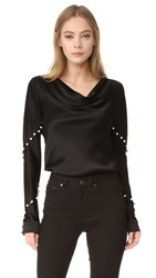 Prabal Gurung Long Sleeve Cowl Neck Blouse Black
