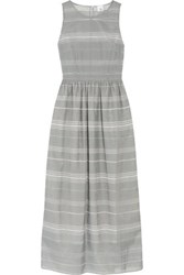 Iris And Ink Striped Devore Chambray Maxi Dress Gray