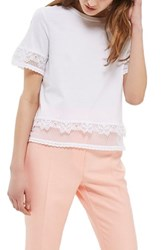 Topshop Women's Lace Trim Crop Tee White