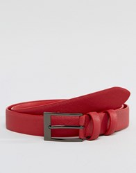 Smith And Canova Leather Skinny Belt Red Saffiano Red