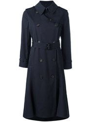 Balenciaga Belted Trench Coat Blue