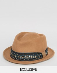 Reclaimed Vintage Tribly Hat Geo Band Brand Brown