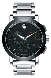 Movado 'Museum Sport' Chronograph Bracelet Watch 44Mm Silver Black