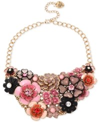 Betsey Johnson Gold Tone Colorful Crystal Floral Statement Necklace Multi