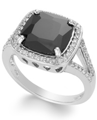 B. Brilliant Sterling Silver Black And White Cubic Zirconia Square Ring 4 1 2 Ct. T.W.