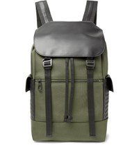 Bottega Veneta Sassolungo Nylon Canvas And Intrecciato Leather Backpack Army Green