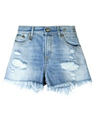 R 13 R13 Frayed Hem Distressed Denim Shorts Blue