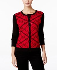Charter Club Sequined Plaid Cardigan Only At Macy's New Red Amore Combo