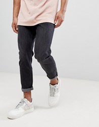 New Look Tapered Jeans In Black Wash Black