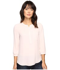 Nydj 3 4 Sleeve Pleat Back Pink Cameo Women's Blouse
