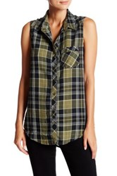 Abound Woven Chevron Plaid Tunic Green