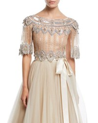 Jenny Packham Scalloped Beaded Illusion Evening Top Champagne