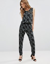 Jdy J.D.Y. Flower Print Sleeveless Jumpsuit Black W Black Flower