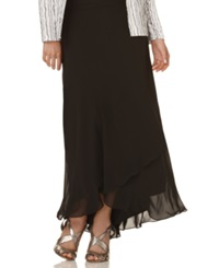 Alex Evenings Skirt Long Tiered Black