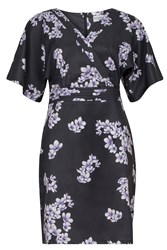 Wolf And Whistle Drawn Blossom Kimono Sleeve Dress Black