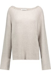 Helmut Lang Oversized Ribbed Cotton And Cashmere Blend Sweater Light Gray