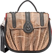 Zagliani Snakeskin Aidha Shoulder Bag Black