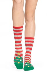 Women's Arthur George By R. Kardashian 'Christmas Tree' Stripe Crew Socks