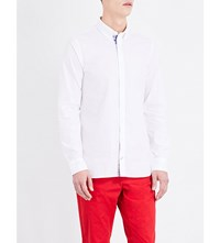 Tommy Hilfiger Floral Detailed Slim Fit Cotton Shirt Classic White