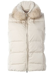 Eleventy Fox Fur Collar Padded Gilet Nude And Neutrals