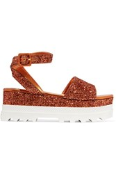 Miu Miu Glittered Leather Platform Sandals Orange