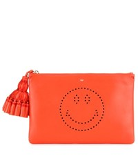 Anya Hindmarch Georgiana Smiley Leather Clutch Red