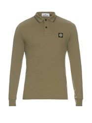 Stone Island Long Sleeved Stretch Cotton Polo Shirt Light Green