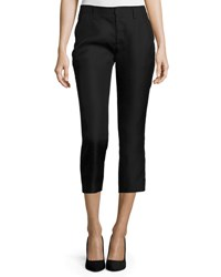 Co Flat Front Cropped Cigarette Pants Black