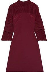 Mikael Aghal Woman Pleated Paneled Silk Crepe De Chine And Georgette Dress Burgundy
