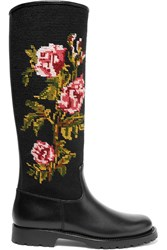 Saint Laurent Leather And Embroidered Canvas Rain Boots Black