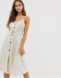 Moon River Button Front V Back Midi Dress Stone