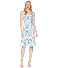 Donna Morgan Sleeveless Printed Scuba Midi With Mesh Inset Ivory Blue Multi Dress White