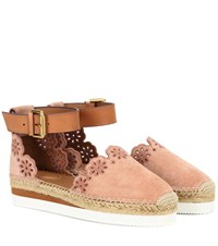 See By Chloe Suede And Leather Espadrilles Pink