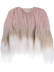 Red Valentino Furry Color Block Jacket Pink