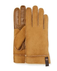 Ugg Tenney Suede And Leather Gloves W Shearling Lining Chestnut