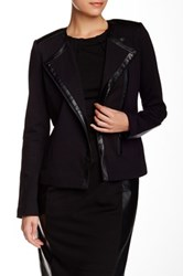 Nydj Faux Leather Trim Ponte Knit Moto Jacket Black
