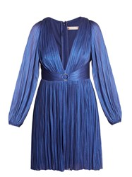 Maria Lucia Hohan Enora V Neck Pleated Tulle Dress Blue