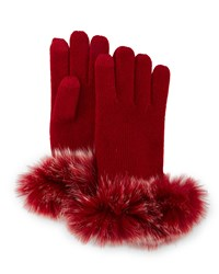 Sofia Cashmere Cashmere Tech Gloves W Fox Fur Cuff Deep Red
