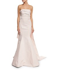 Monique Lhuillier Strapless Embroidered Cape Back Gown Pink