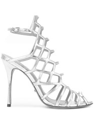 Schutz High Shine Sandals Metallic