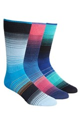 Bugatchi Men's 3 Pack Cotton Blend Socks Blue Navy Light Blue Stripe