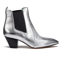 Marc Jacobs Women's Kim Metallic Leather Heeled Chelsea Boots Silver