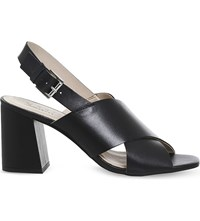 Office Memory Cross Strap Leather Sandals Black Leather