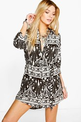 Boohoo Mono Long Sleeve Shirt Dress Black