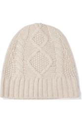 Frame Cable Knit Cashmere Beanie Sand