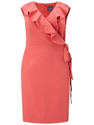 Adrianna Papell Cascading Ruffle Draped Sheath Dress Indian Rose