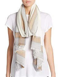 Saks Fifth Avenue Pane Border Merino Wool Scarf Oat