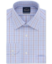Eagle Men's Classic Regular Fit Stretch Collar Non Iron Burgundy And Blue Check Dress Shirt Blueberry